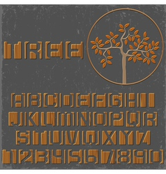Wooden alphabet letters and numbers vector image vector image