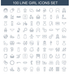 100 girl icons vector