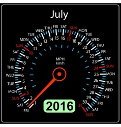 2016 year calendar speedometer car July vector image