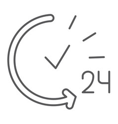 24 hours thin line icon service and time open vector image