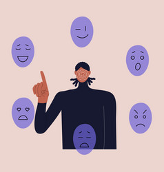 A black man without face chooses mask vector