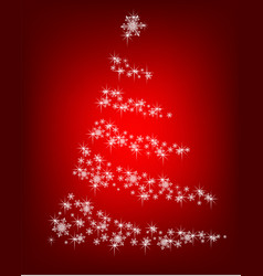abstract christmas tree of snowflakes on a red vector image