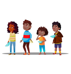 African children waiting in line with empty plates vector
