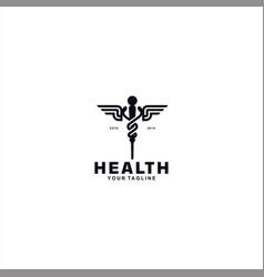 asclepius logo design template idea vector image