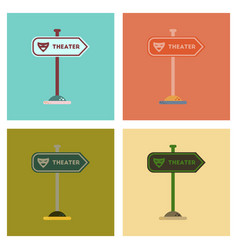 Assembly flat icons theater sign vector