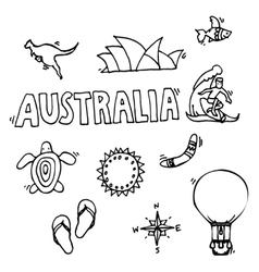 Australia tourism nature and culture icons set vector