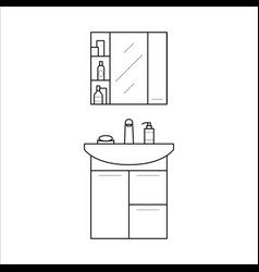 bathroom sink and shelf home furniture lineart vector image