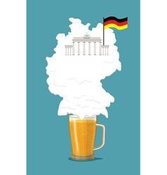 Beer with foam silhouette German map Brandenburg vector