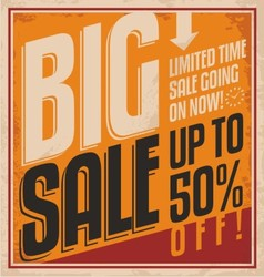 Big sale retro banner on old paper texture vector image