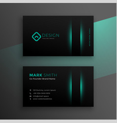 Black business card design with turquoise color vector