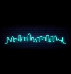 Blue neon skyline louisville city bright vector