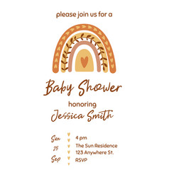 Boho baby shower invitation template with cute vector