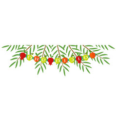 Branches of date palm and garland sukkot banner vector
