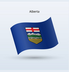 Canadian province of alberta flag waving form vector