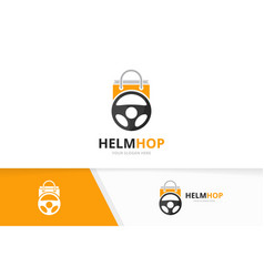 Car helm and shop logo combination vector