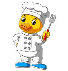 Cartoon chef duck holding kitchen spatula vector