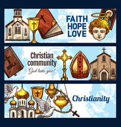 christianity religion and religious objects vector image