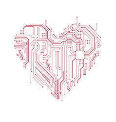 Circuit board heart symbol vector