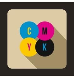 CMYK circles icon flat style vector image