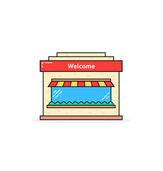 color linear shop building icon vector image