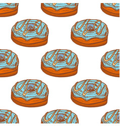 Colored seamless pattern with doughnuts in hand vector