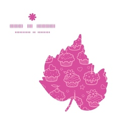 colorful cupcake party leaf silhouette pattern vector image