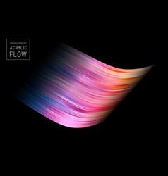 colorful flow brush stroke on black background vector image