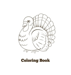 Coloring book turkey cartoon vector