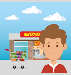 Consumer with shopping cart of groceries vector