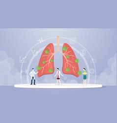 Coronavirus covid-19 disease virus on lunges with vector