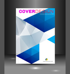 cover template with blue triangle geometry vector image
