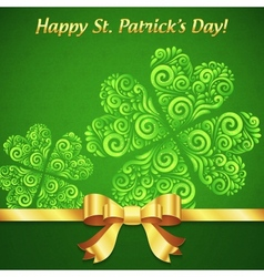 Curved ornate clovers green Patricks Day card vector image vector image