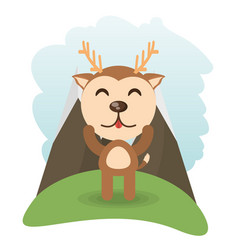 Cute deer animal winking vector