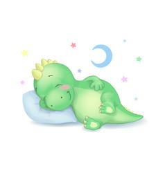 cute dinosaur sleeping vector image