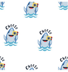 Cute shark seamless pattern with photocamera vector