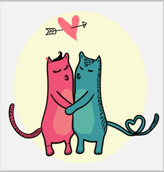 Doodle cats kissing with heart flying in love vector