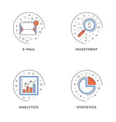 e-mail investment analytics statistics set 4 vector image