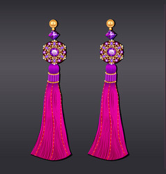 Earrings from beads of purple gems and gold with vector
