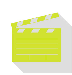 film clap board cinema sign pear icon with flat vector image