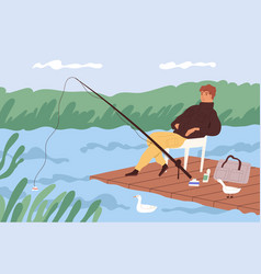 fisherman sitting with fishing rod and watching at vector image