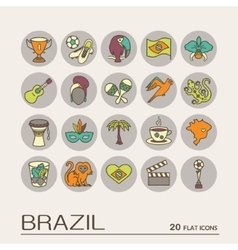 Flat icons Brazil 9 vector image