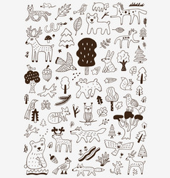 Forest animals nature symbols - doodle set vector