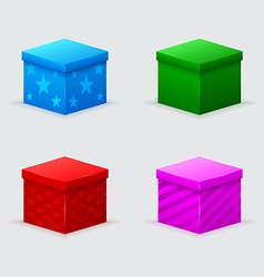 Four closed gift boxes of green blue red pink vector