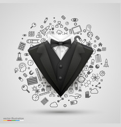 gentleman suit on set of business icons vector image