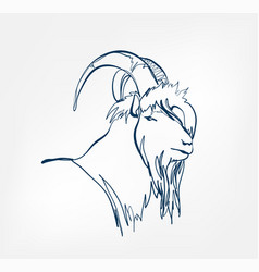 goat animal wild one line design vector image