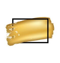 gold brush in black square frame isolated white vector image