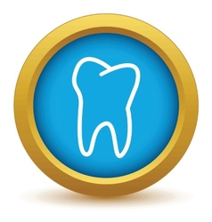 Gold tooth icon vector
