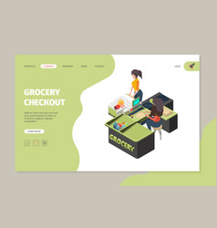 grocery store checkout buyers in retail grocery vector image