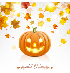 halloween pumpkin on a background falling vector image