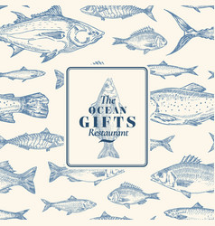 hand drawn seamless pattern fish package vector image
